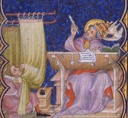 Middeleeuws schrijver ontvangt woorden door pen hemelwaarts te richten.